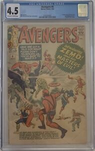 The Avengers #6 1st Baron Zemo Jack Kirby & Stan Lee CGC 4.5 Ow/White Pages 1964