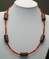 Afrika Halskette / African Necklace mit Millefiori Glasperlen