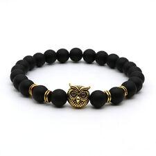 NEW Fashion Black Lava Rock Stone Beaded Bracelet Charm Lion/Buddha Bracelet