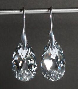 Silber 925 Ohrringe mit Swarovski® Kristallen spiegelnd glitzernd + Schmuck Etui