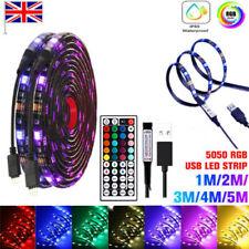 1-5M USB LED Strip Lights 5050 5M RGB Light Colour Changing Tape Cabinet TV