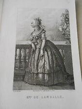 Gravure 19ème - Portrait de Mme de Lamballe