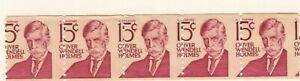 US EFO Scott #1305E 15c Holmes Coil strip of 5 major misperf mint!