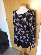 Ladies M&S Top Size 22 Black Floral Tunic Satin Trim Smart Casual Day
