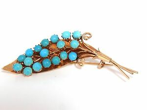 1940's PERSIAN TURQUOISE LEAF PIN HANDMADE 14KT ROSE GOLD+