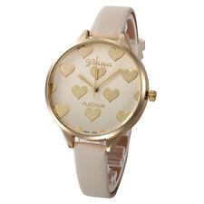Fashion Women Stainless Steel Faux Leather Quartz Analog Dial Wrist Watch Beige