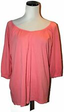GARNET HILL Coral Pintucked Scoop V-Neck Pullover Pima Cotton 1/2Slv Shirt S EUC