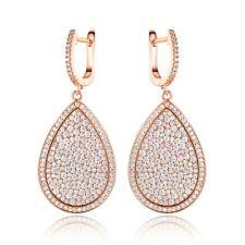 18K Rose Gold Plated Cubic Zirconia Teardrop Dangling Earrings