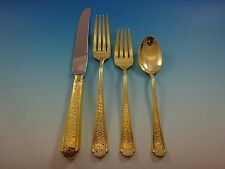Old Brocade Gold by Towle Sterling Silver Flatware Set For 6 Service Vermeil