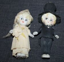 Miniature Vtg Bisque Bride & Groom Dolls Crepe Clothes Japan