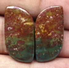 NATURAL BLOOD STONE CABOCHON FANCY SHAPE PAIR 21.50 CTS LOOSE GEMSTONE D 5825