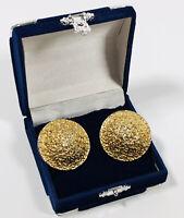 HUGE 1980s Vintage Clip On Earrings Gold Tone Brutalist Retro Costume Jewellery