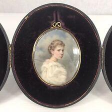 Fine Antique Portrait Miniature Of Constance Craig By Eleanor M Ross Cased