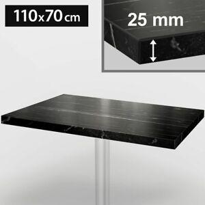 ITALIA Bistro Tischplatte | 110x70cm | Schwarz Marmor | Holz | Gastro Restaurant