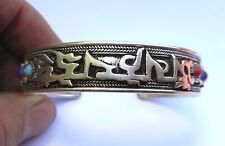 AMAZING SILVER TIBETAN BUDDHIST DRAGON GEMSTONE MANTRA BRACELET