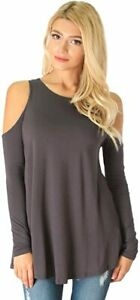 Lyss Loo In Good Company Cold Shoulder Long Sleeve Top T2042 Charcoal - S