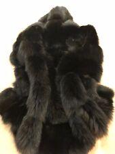 La Furla Italy Saga Fur Black Fox Wide  Pelts SleevelessHood Gilet New With Tag