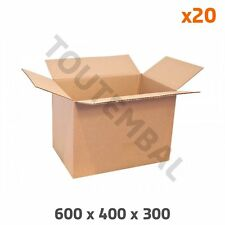 Caisse carton simple cannelure 600 x 400 x 300 mm (par 20)