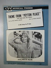 PEYTON PLACE Theme ABC TV Sheet Music 1964 DOROTHY MALONE Mia Farrow Ed Nelson