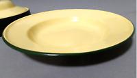 "8"" Yellow enamel camping round dishes Green trim enamelware bowl Plates Vintage"