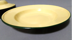 set 8 inches enamel Plates camping round dishes enamelware Yellow bowl dinner NB