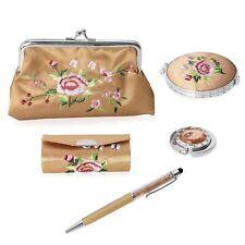 Golden Compact Mirror Lipstick Case Coin Purse Bag Holder Hook Pen Set of 5