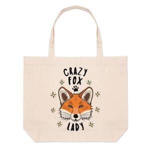 Crazy Fox Lady Stars Large Beach Tote Bag - Funny Animal Shoulder Shopper