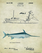 Saltwater Swordfish Tuna Fishing Patent Poster Art Print Lures Reels Rods PAT400