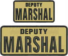 DEPUTY MARSHAL EMBROIDERY PATCH 4X10 AND 3X6 hook on back TAN/BLK