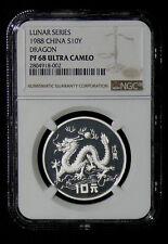 1988 PF-68 ULTRA CAMEO LUNAR DRAGON China Silver Commemorative