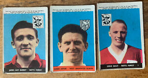3 Off 1960s A&BC Football Trade Cards With Planet Derek Kevan Eddie Baily Barret