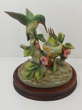 Andrea By Sadek Ruby Throated Hummingbird Feeding Babies Figurine & Wooden Base