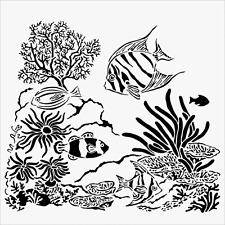 AQUARIUM STENCIL FISH CORAL PLANTS SEA OCEAN STENCILS TEMPLATE PAINT NEW BY TCW