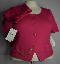 New St John Sz 14 Santana Knit Blazer&Skirt Suit Tropic Pink Chain Short Sleeve