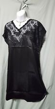 "SEXY & COMFY BLACK W/LACE  CHARMEUSE SLEEPSHIRT 38"" LENGTH SIZE 3X  52"" BUST"