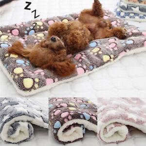 Pet Mat Paw Print Cat Dog Puppy Fleece Mattres Cushion Bed Blanket Warm Soft NEW