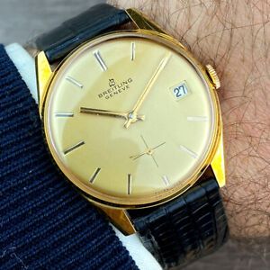 BREITLING AMAZING 18k GOLD PLATED MEN'S DATE WATCH from 1960's IMMACULATE!