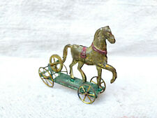 Antique Rare Early H.A Depose Litho Horse On Platform Wheel Penny Tin Toy France