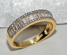 Stunning 9ct Yellow Gold & Silver 1.00ct Baguette Cut Eternity Ring - size Q