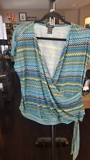 NEW Eyeshadow Women's teal Mulitcolored  Print Top Blouse Plus Size 3X