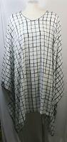 Plus size poncho style top/tunic, white/black/gray, checks, size 1X-2X,3X-4X