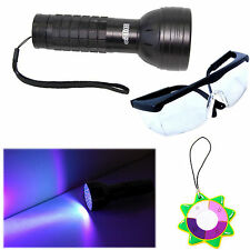 HQRP Professional 76 LED Ultra Violet Blacklight Torch + UV Protecting Glasses
