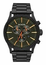NEW NIXON Sentry Chrono SS Men's Watch 42mm | ALL BLACK / SURPLUS | A386 1032
