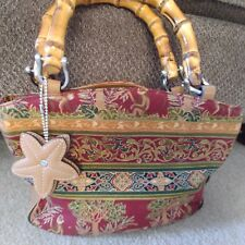 WOMEN'S RELIC MONKEY PALM TREE RED GOLD GREEN TAN VINYL SMALL PURSE bamboo handl