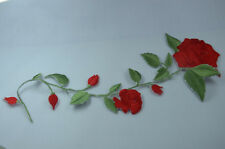 25cm RED ROSE STEM TRIMMING Embroidered Sew Iron On Cloth Patch Badge APPLIQUE