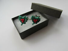 Handmade Xmas Green Red Christmas Inspired Holly & Berry Mens Cufflinks - Boxed