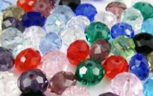 300Pcs 4x6mm Multicolor Faceted Rondelle Crystal Glass Loose Beads