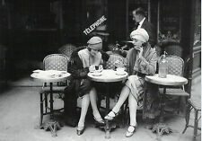 1920's Vintage Paris Cafe Old Photo Ladies French Canvas Print Framed