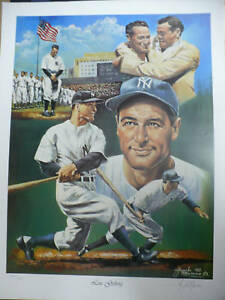 "Lou Gehrig ""New York Yankees"" 18x24 Lithograph LE 1450 Signed by Angelo Marino"