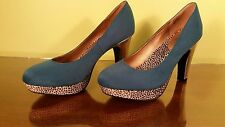 "Jellypop Turquoise Animal Print Platform High Heel Pumps ""Michelle"" 9M VGC"